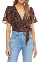 Astr The Label 162392 Womens Veda Short Sleeve Floral Bodysuit Brown Size Small