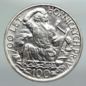 1949 CZECHOSLOVAKIA Slovak Uprising VINTAGE OLD Silver 100 Korun Coin i92232