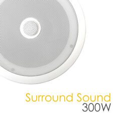 "300W Ceiling Surround Sound Speaker White 8"" bass 1"" Tilanium Angled Tweeter"