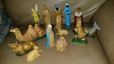 VINTAGE HARD PLASTIC NATIVITY FIGURES HONG KONG  14 pieces ALL MINT  NO RESERVE
