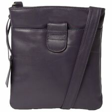 Womens SIENNA DE LUCA Tab Small Zip Top Leather Cross Body Bag Aubergine
