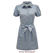 Denim Patternless Shirt Dresses
