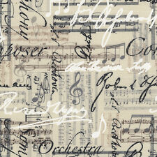 "TIMELESS TREASURES ""MUSIC SHEETS AND NOTES"" Linen by yard"