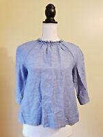 Crewcuts J Crew Girls Top Linen Blend Ruffle Neck Shirt Blouse Blue Size 12