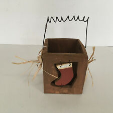 primitive style decorative box wood with wire handle christmas stocking front