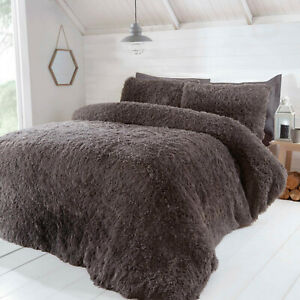 Cosy Fur Shaggy Fluffy Long Pile Duvet Quilt Cover Bedding Set with Pillow cases