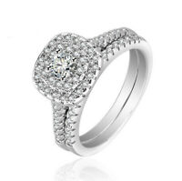 Women's 925 Sterling Silver Lab Diamond Wedding Bridal Engagement Ring Set R127