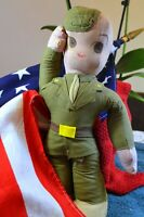 """1940S WORLD WAR 2 12"""" CLOTH GI DOLL IN DRESS GREENS, DOLLYWOOD DEFENSE DOLL"""