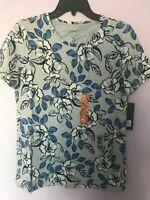 Jones Newyork Cotton Tee Short Sleeve Floral White Blue  S,M,L,XL,XXL NWT