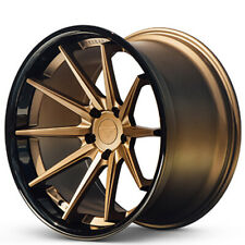 "4ea 22x9.5/22x10.5"" Ferrada Wheels FR4 Matte Bronze with Gloss Black Lip(S1)"