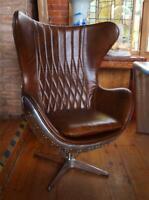 Aviation Aviator Brown Leather & Aluminium Chair - Aeroplane - Stunning