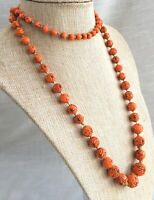 """Vtg Mid-Century Hand Knotted Textured Graduated Glass Bead Necklace - Orange 37"""""""