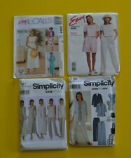 Lot of 4 sewing patterns, misses clothes size 8-14, mixed brands