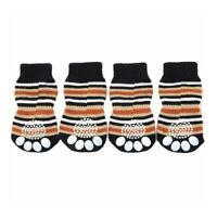 Pet Dog Puppy Cat Anti-slip Knit Cotton Weave Sock 4 Pcs XL coffee A4A6