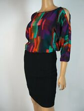 Trina Turk Red Purple 3/4 Sleeve Cold Shoulder Cut Out Blouson Dress 2 NEW T333