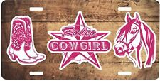 Western Rodeo Cow Girls Horses Boots Rope Novelty Truck Car Tag License Plate
