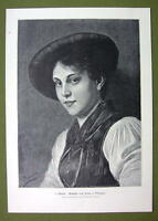 LOVELY GIRL from Tyrol - VICTORIAN Era Print