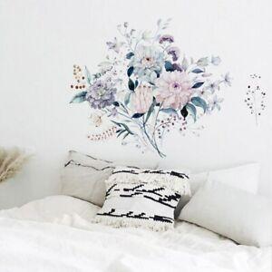 Wandtattoo Wandaufkleber Blumen Blätter Pflanzen in Aquarellfarben