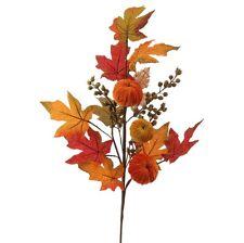 "RAZ Import~30"" Pumpkin Leaf Berry Spray~Floral Pick/Branch/Stem/Swag/Tree/Wreath"