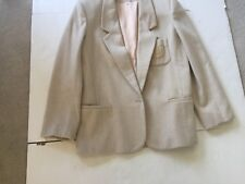 Leslie Fay Sport Jacket ~ Size 12 ~ Wool & Cashmere ~ Off White ~ Gold