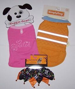 LOT OF 2 NEW DOG CLOTHES S SMALL T-Shirt Pink Walking Jacket Clothing Outfits C3