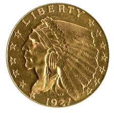 1927 $2.50 GOLD INDIAN HEAD HALF EAGLE U.S. COIN BU