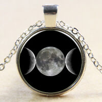 Full and Crescent Moon Phases Necklace Space Lunar Image Pendant Antique Silver