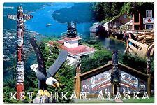 Ketchikan Alaska Postcard Totem Pole Eagle Guard Island Lighthouse New Creek St
