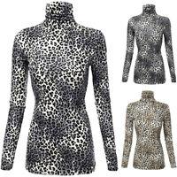 Women Lady Long Sleeve Leopard Print Turtleneck Lightweight Pullover Tops Blouse