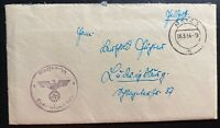 1944 Waffen SS Fieldpost Metz Germany Stampless Cover With Letter