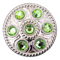 U-TY08 SET OF 8 GREEN CRYSTAL RHINESTONE WHEEL CONCHOS BLING HEADSTALL TACK COWG