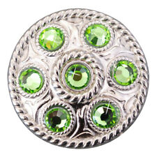 C-TY08 SET OF 8 GREEN CRYSTAL RHINESTONE WHEEL CONCHOS BLING HEADSTALL TACK COWG