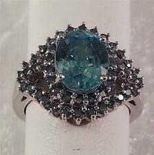 4.64ct Blue Zircon and Blue Diamond Ring in 14K White Gold Size 6