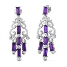 Dangle Drop Earrings Sterling Silver Amethyst Zircon Jewelry for Women Cttw 3.7