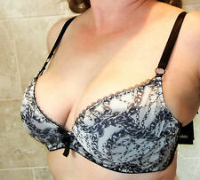 SEXY!! LASCIVIOUS SHEER MESH OVER LIGHTLY PADDED CUPS DEMI BRA 34D NWT MSRP $198