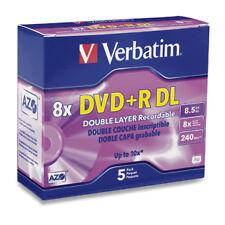 Verbatim DVD+R DL 8.5GB 8X Branded 5-Pack Jewel Case