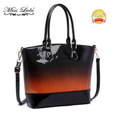 Miss Lululas Patent Leather Shoulder Handbag Tote Bag Grant Color Brown
