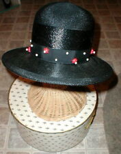 Black Straw Hat Wood beads Chesterfield VINTAGE with BONUS Antique Brooch