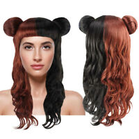 Brown Half Black Curly Wave Wig with Buns for Cosplay Melanie Mad Hatter HW-2716