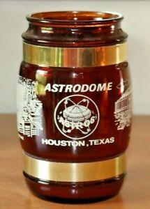 """Vintage Houston Astrodome Astros Brown 5"""" Barrel Mug Glass Wood Handle USA"""