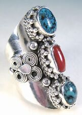 LADIES HANDCRAFTED TURQUOISE & RED CORAL RING size 6 - 925 STERLING SILVER
