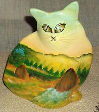 Cat Figural Planter Hand Painted Harvest Scene Ceramic Gentle Use