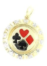 Poker Player 12 Diamond 9K 9ct 375 Solid Gold Pendant- 30 Day Returns