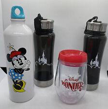 Lot of 3 Disney Water Bottles + Travel Wine Tumbler