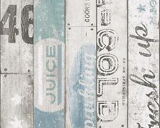 """95950-3) 1 rôle papier papier peint """"Boys & Girls"""" bois décor au style vintage bleu"""