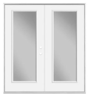 Masonite Door  Primed White Steel Clear Glass Patio Door