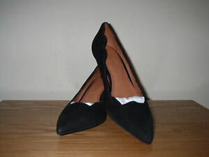 NEXT BLACK SUEDE SCALLOPED STILETTO HEELS POINTED TOE COURT SHOES SIZE 3.5/36