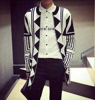 New Men's Vogue Geometric Knit Sweater Mid Long Slim Fit Open Cardigan Top M-XXL