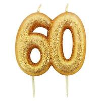 60th Birthday Cake Candle Gold Anniversary Glitter Age Number Party Topper Gift