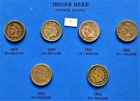 1859-1864 COPPER NICKEL INDIAN HEAD CENTS, PENNY, 6 COINS #3